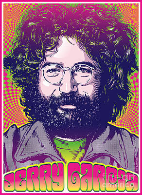 Jerry Garcia Pop Art Poster by Jim Zahniser