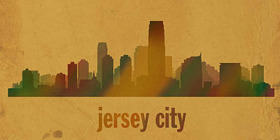 Jersey City New Jersey City Skyline Watercolor On Parchment Poster