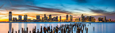 Jersey City Panorama At Sunset Poster