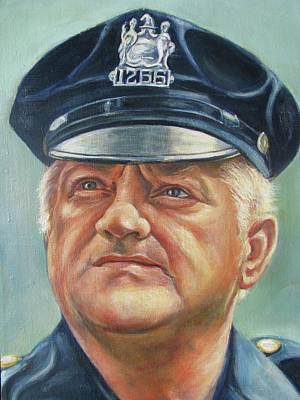 Poster featuring the painting Jersey City Policeman by Melinda Saminski