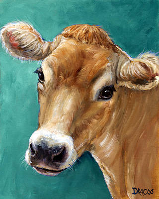 Jersey Cow Tan On Teal Poster by Dottie Dracos
