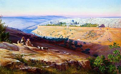 Jerusalem From The Mount Of Olives Poster by Munir Alawi