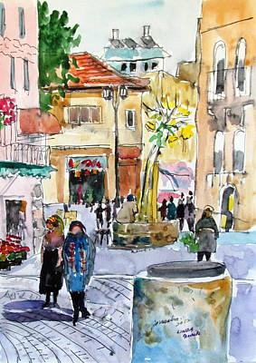 Jerusalem Street Scene Poster