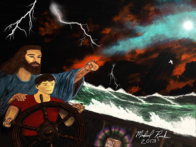 Poster featuring the painting Jesus And The Sailor by Michael Rucker