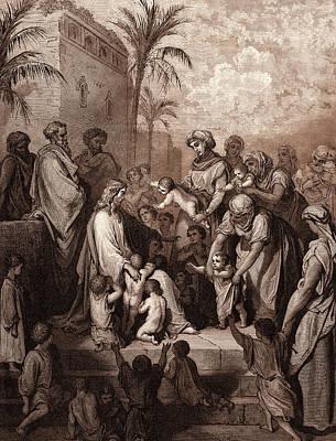 Jesus Blessing The Children Poster