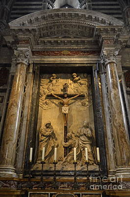 Jesus-christ On Cross Inside Siena's Duomo Poster by Sami Sarkis