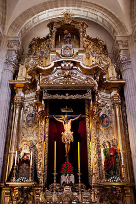 Jesus Christ On The Cross Reredos In Seville Cathedral Poster by Artur Bogacki