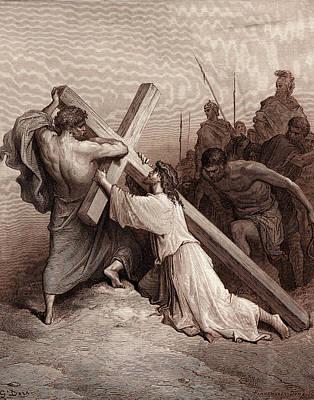 Jesus Falling Beneath The Cross Poster