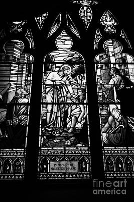 jesus healing the stick stained glass window in holy rosary cathedral Vancouver BC Canada Poster by Joe Fox