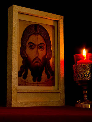Jesus Icon Not Made With Hands Poster by Richard Singleton