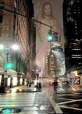 Jesus Strolls The City Poster by Tina Mancusi