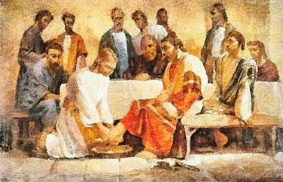 Jesus Washing Apostle's Feet Poster by Dan Sproul