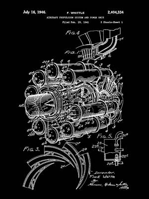 Jet Engine Patent 1941 - Black Poster by Stephen Younts