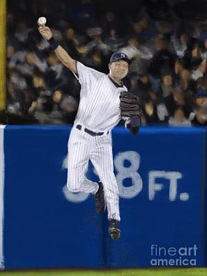 Jeter Jump Throw Poster by Jeremy Nash