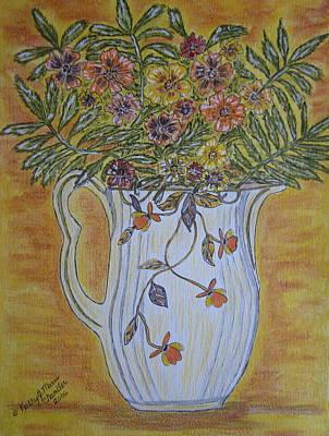 Jewel Tea Pitcher With Marigolds Poster