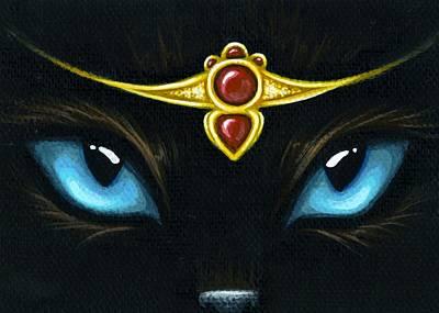Jeweled Kitty Garnet Poster by Elaina  Wagner