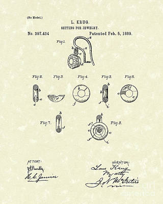 Jewelry Setting 1889 Patent Art Poster by Prior Art Design