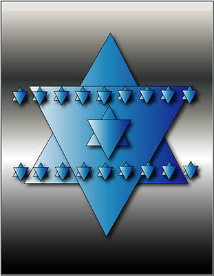 Poster featuring the digital art Jewish Stars by Marvin Blaine