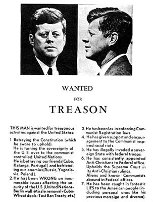 Jfk Treason Poster Poster by Underwood Archives