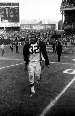 Jim Brown With Coat Over Shoulder Pads Poster by Retro Images Archive