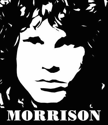Jim Morrison Black And White Pop Art Poster by David G Paul