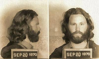 Jim Morrison Mug Shot Poster by Dan Sproul