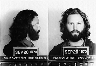Jim Morrison Mug Shot In Black And White Poster by Bill Cannon