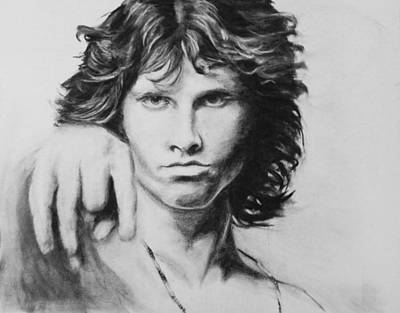 Jim Morrison. Original Charcoal Drawing. Poster by Kira Rubtsova