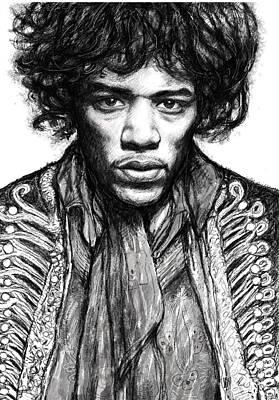 Jimi Hendrix Art Drawing Sketch Portrait Poster by Kim Wang