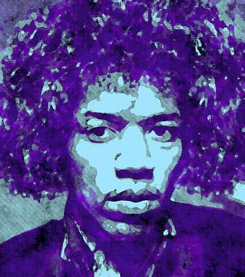 Jimi Hendrix In Purple Poster by Daniel Hagerman