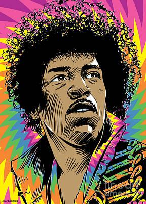 Jimi Hendrix Pop Art Poster by Jim Zahniser