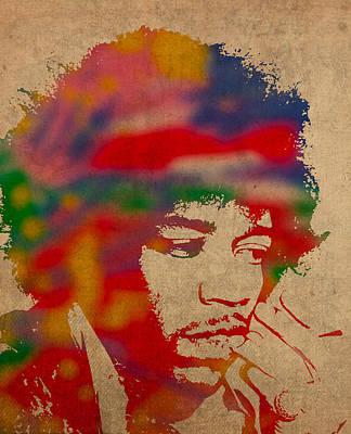 Jimi Hendrix Watercolor Portrait On Worn Distressed Canvas Poster