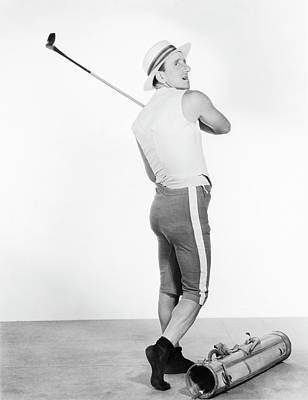 Jimmy Durante Swinging A Golf Club Poster by Artist Unknown