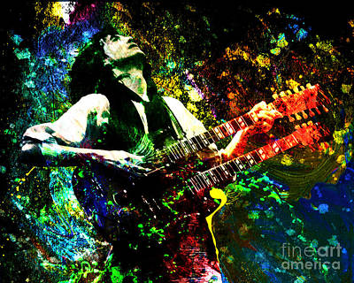 Jimmy Page - Led Zeppelin - Original Painting Print Poster by Ryan Rock Artist