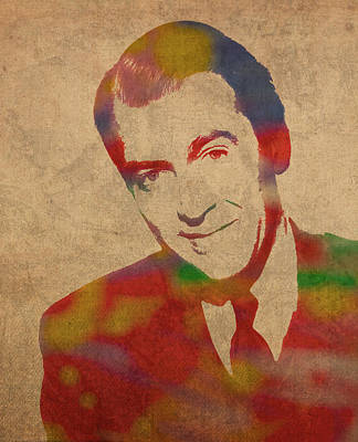 Jimmy Stewart Watercolor Portrait On Worn Distressed Canvas Poster