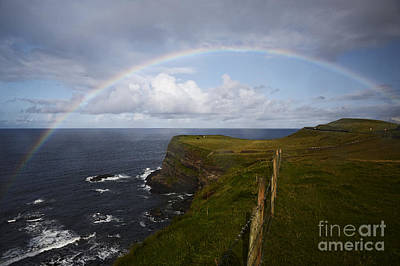 Joe Fox Fine Art - Large Rainbow In The Rain On The North Coast Of Ireland Poster