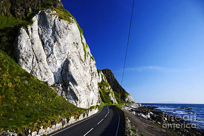 Joe Fox Fine Art - Limestone Cliffs At Garron Point On The A2 Antrim Coast Road Filming Location For The Sons Of Anarchy Visit To Ireland Poster