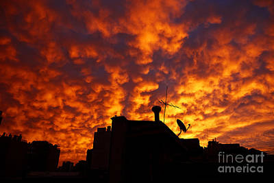 Joe Fox Fine Art - Sunset Reflecting Off Stratocumulus Cloud Deck Over The City Of Santiago Chile Poster by Joe Fox