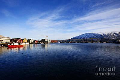 Joe Fox Fine Art - Tromso Harbour And Bridge Looking Towards Nor Poster by Joe Fox