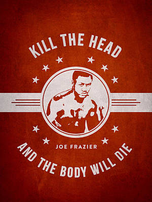 Joe Frazier - Red Poster by Aged Pixel