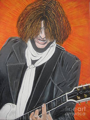 Poster featuring the painting Joe Perry On Guitar by Jeepee Aero