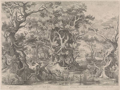 Johannes De Doper Praying In A Morass Landscape Poster by Claes Jansz. Visscher (ii)