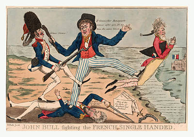 John Bull Fighting The French Single Handed Poster by French School
