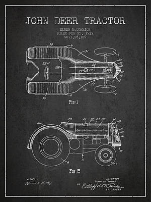 John Deer Tractor Patent Drawing From 1932 - Dark Poster