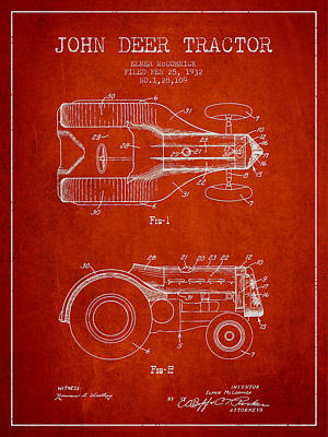 John Deer Tractor Patent Drawing From 1932 - Red Poster by Aged Pixel