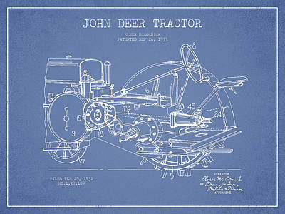 John Deer Tractor Patent Drawing From 1933 - Light Blue Poster by Aged Pixel