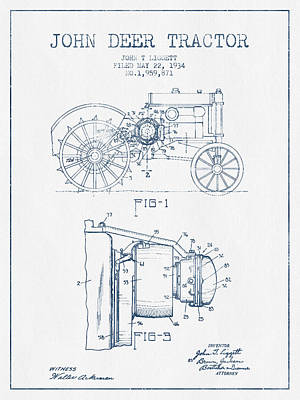 John Deer Tractor Patent Drawing From 1934- Blue Ink Poster by Aged Pixel