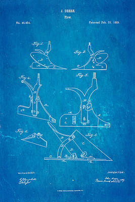 John Deere Plow Patent Art 1865 Blueprint Poster