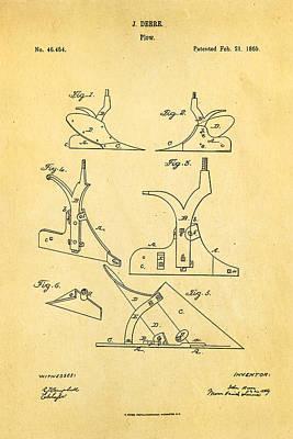John Deere Plow Patent Art 1865 Poster