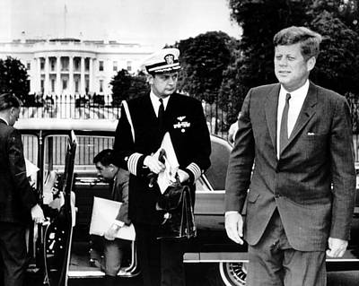 John F. Kennedy Exits Limo In Front Of White House Poster by Retro Images Archive